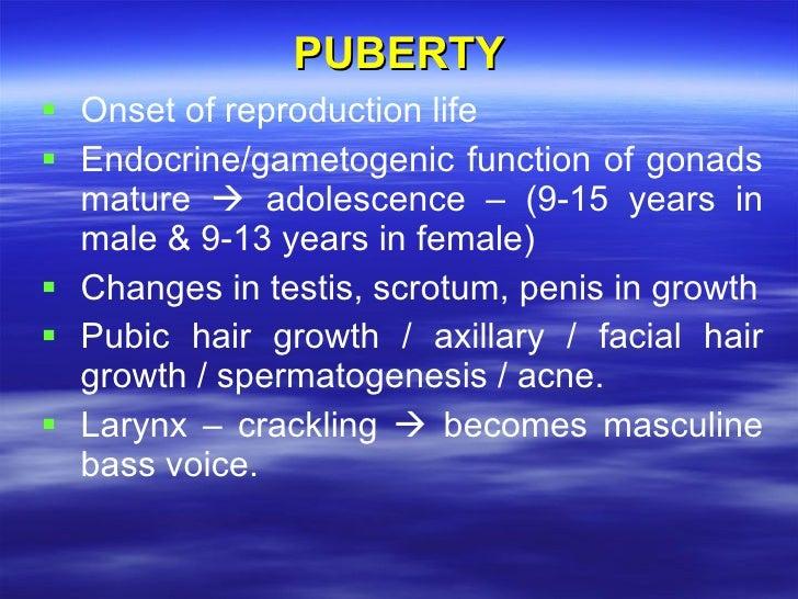 PUBERTY <ul><li>Onset of reproduction life </li></ul><ul><li>Endocrine/gametogenic function of gonads mature    adolescen...