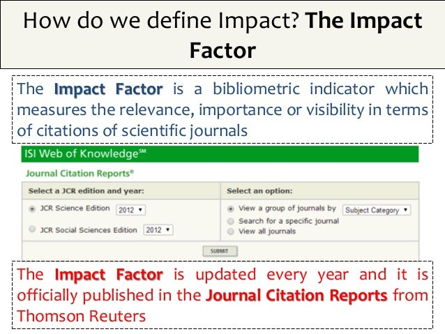 Publication in scientific journals  Impact factors
