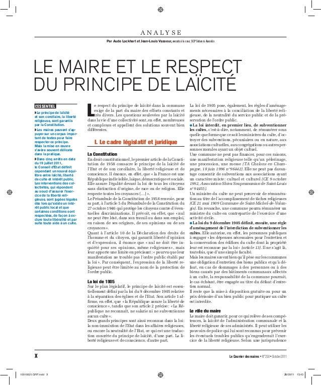 A N A LY S E Par Aude Lockhart et Jean-Louis Vasseur, avocats à la cour, SCP Seban & Associés  LE MAIRE ET LE RESPECT DU P...