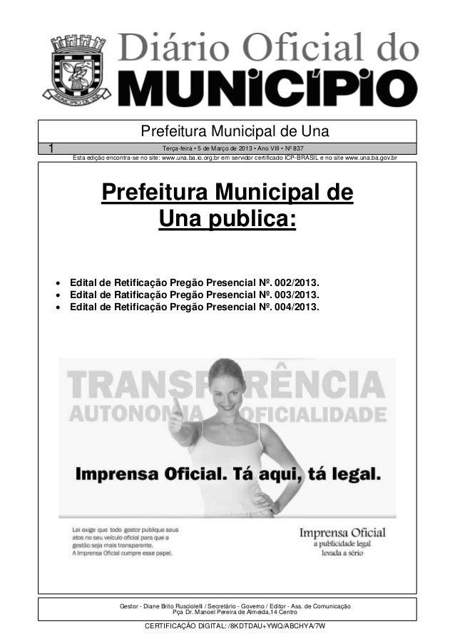 Prefeitura Municipal de Una1                                      Terça-feira • 5 de Março de 2013 • Ano VIII • Nº 837    ...