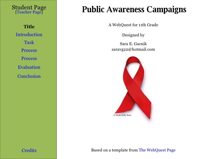 Public Awareness Campaigns Student Page Title Introduction Task Process Evaluation Conclusion Credits [ Teacher Page ] A W...