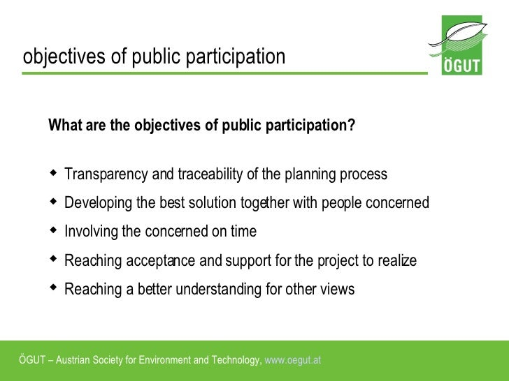 public participation planning Enhancing public participation for sustainable development projects 2 structure of presentation principles and approaches  planning for public involvement.