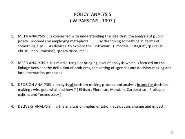 analyzing public policy Why study public policy public policy analysis can become a professional role for students trained in political science, economics, law.