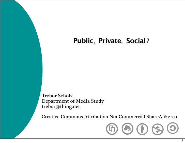 Public, Private, Social?     Trebor Scholz Department of Media Study trebor@thing.net  Creative Commons Attribution-NonCom...