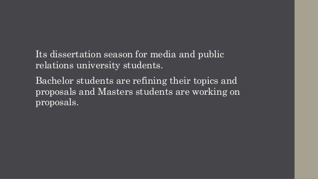 Dissertation topics in media