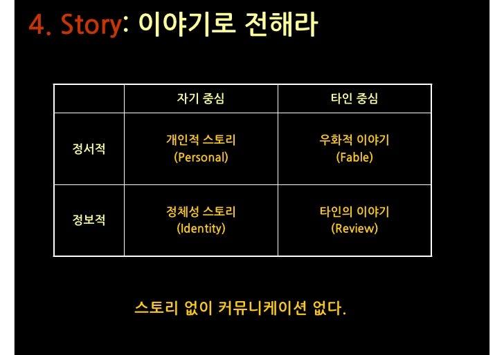 4. Story: 이야기로 전해라             자기 중심         타인 중심             개인적 스토리       우화적 이야기   정서적            (Personal)    (Fable...