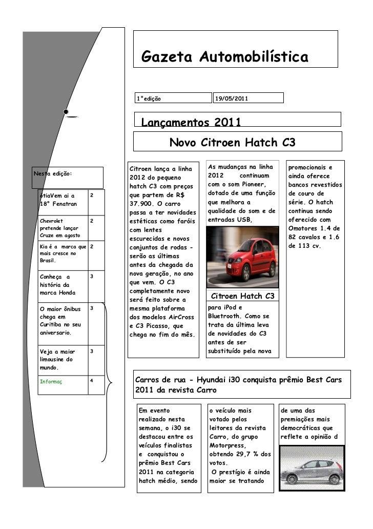 Gazeta Automobilística                          1°edição                19/05/2011                           Lançamentos 2...