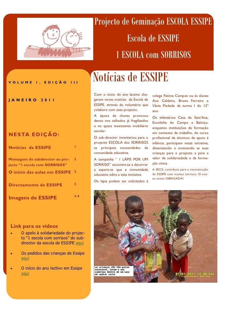 Projecto de Geminação ESCOLA ESSIPE                                                               Escola de ESSIPE        ...
