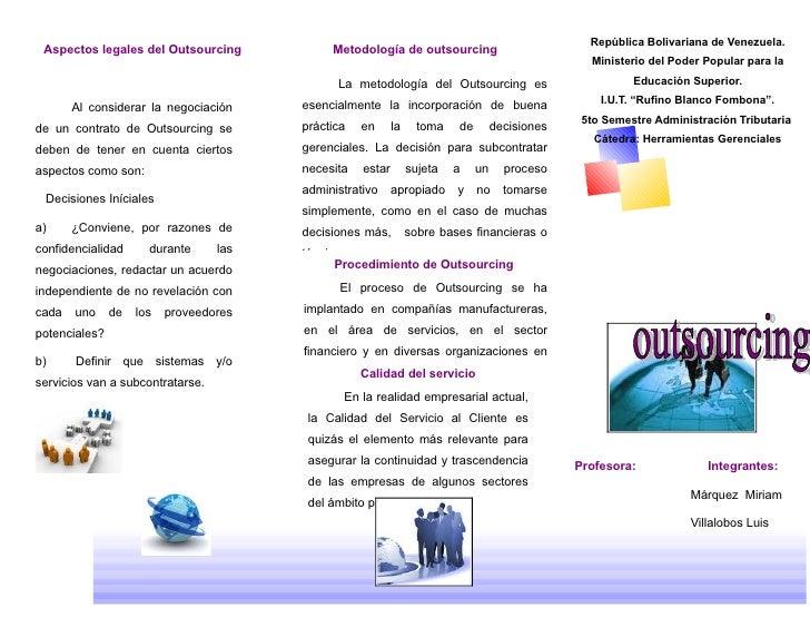 República Bolivariana de Venezuela.  Aspectos legales del Outsourcing            Metodología de outsourcing               ...