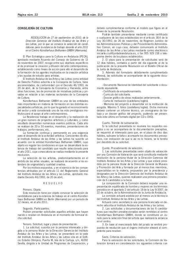 Página núm. 22 BOJA núm. 213 Sevilla, 2 de noviembre 2010 CONSEJERÍA DE CULTURA RESOLUCIÓN de 27 de septiembre de 2010, de...