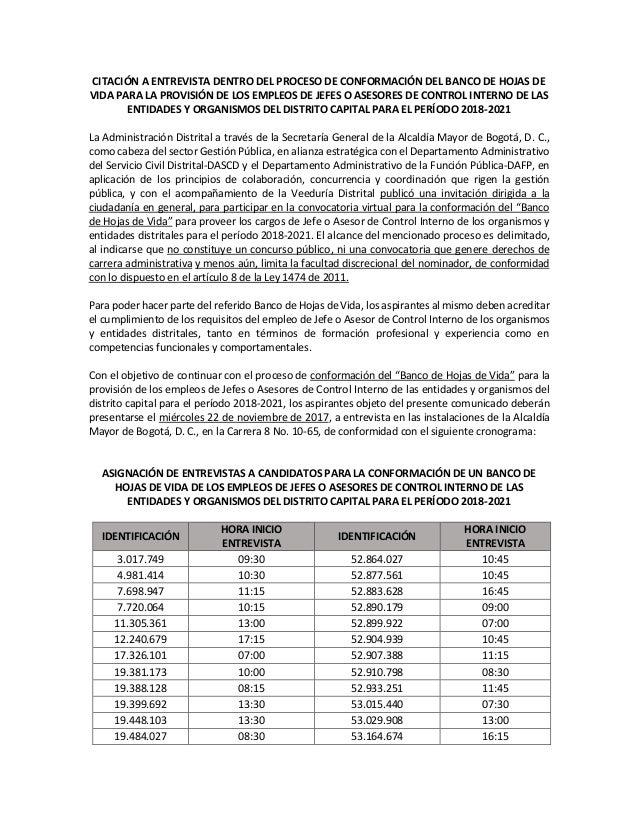 CITACIÓN A ENTREVISTA DENTRO DEL PROCESO DE CONFORMACIÓN DEL BANCO DE HOJAS DE VIDA PARA LA PROVISIÓN DE LOS EMPLEOS DE JE...
