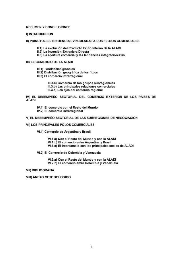 RESUMEN Y CONCLUSIONESI) INTRODUCCIONII) PRINCIPALES TENDENCIAS VINCULADAS A LOS FLUJOS COMERCIALES      II.1) La evolució...