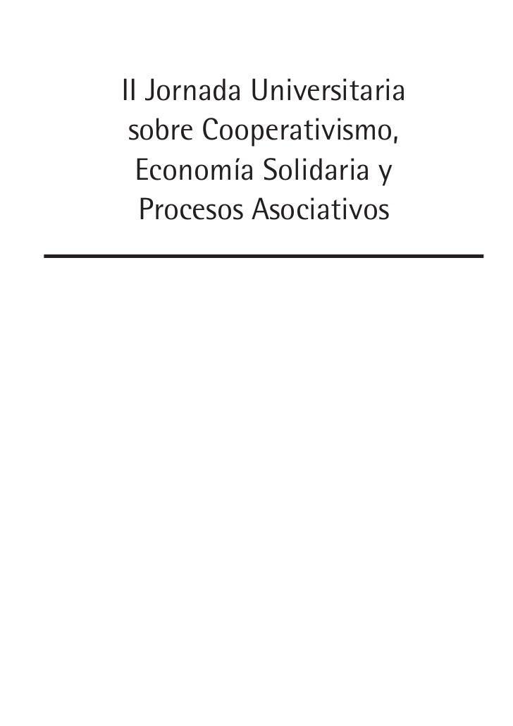II Jornada Universitaria sobre Cooperativismo,  Economía Solidaria y  Procesos Asociativos
