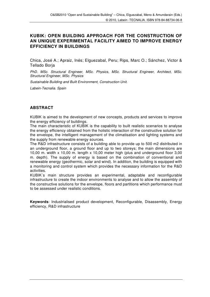 "O&SB2010 ""Open and Sustainable Building"" – Chica, Elguezabal, Meno & Amundarain (Eds.)                                    ..."