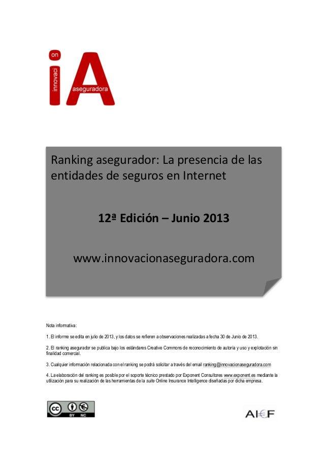 Nota informativa: 1. El informe se edita en julio de 2013, y los datos se refieren a observaciones realiz...