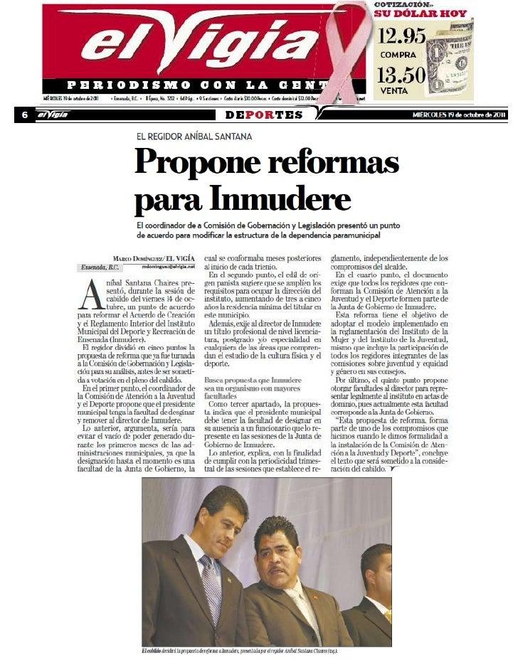 Propuesta de Reforma al Reglamento Interior del INMUDERE