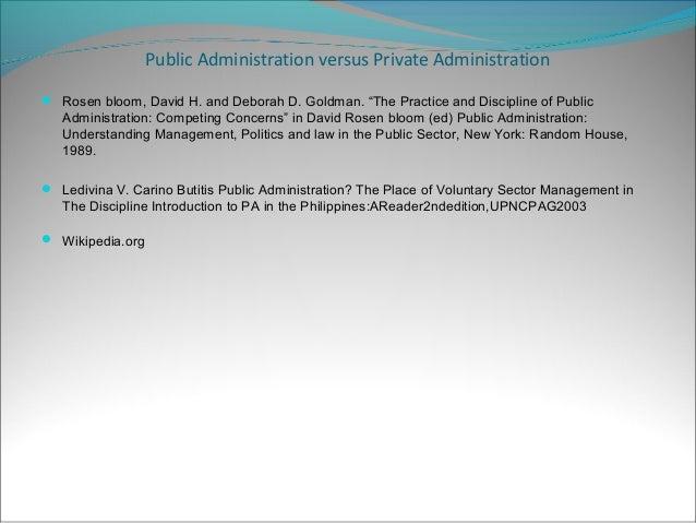Content: Public Administration Vs Private Administration