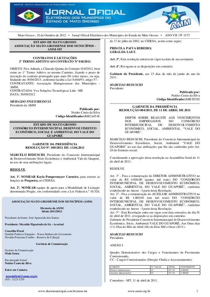 Mato Grosso , 10 de Outubro de 2012 • Jornal Oficial Eletrônico dos Municípios do Estado de Mato Grosso • ANO VII | Nº 157...