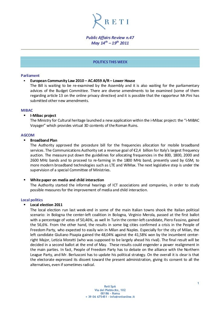 Public Affairs Review n.47                                          May 14th – 19th 2011                                  ...