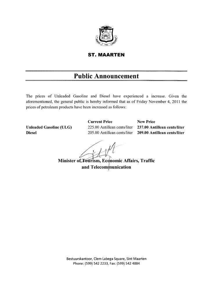 Public announcement november 4, 2011