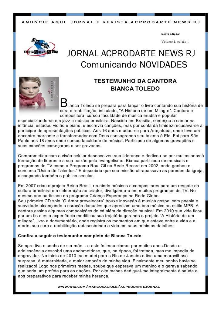 ANUNCIE AQUI             JORNAL E REVISTA ACPRODARTE NEWS RJ                                                              ...