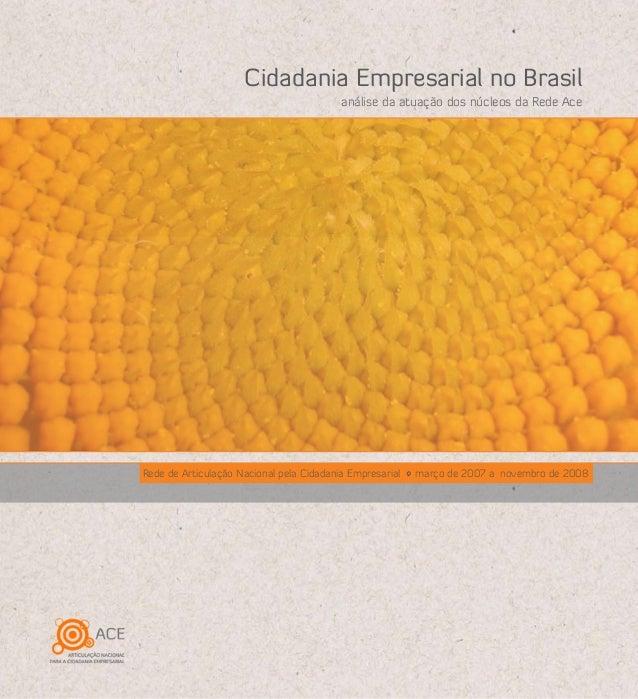 Rede de Articulação Nacional pela Cidadania Empresarial março de 2007 a novembro de 2008 análise da atuação dos núcleos da...