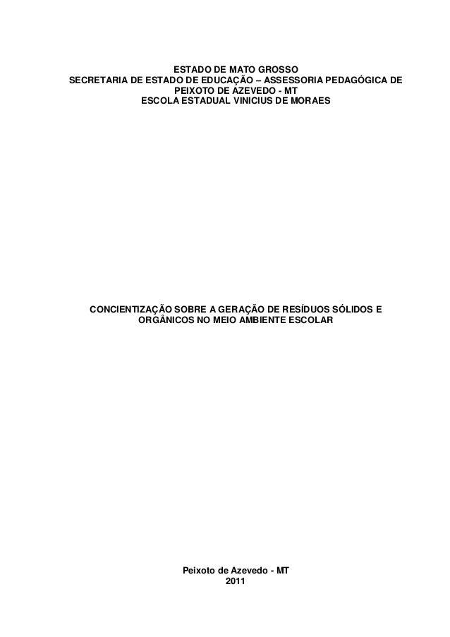 ESTADO DE MATO GROSSO SECRETARIA DE ESTADO DE EDUCAÇÃO – ASSESSORIA PEDAGÓGICA DE PEIXOTO DE AZEVEDO - MT ESCOLA ESTADUAL ...