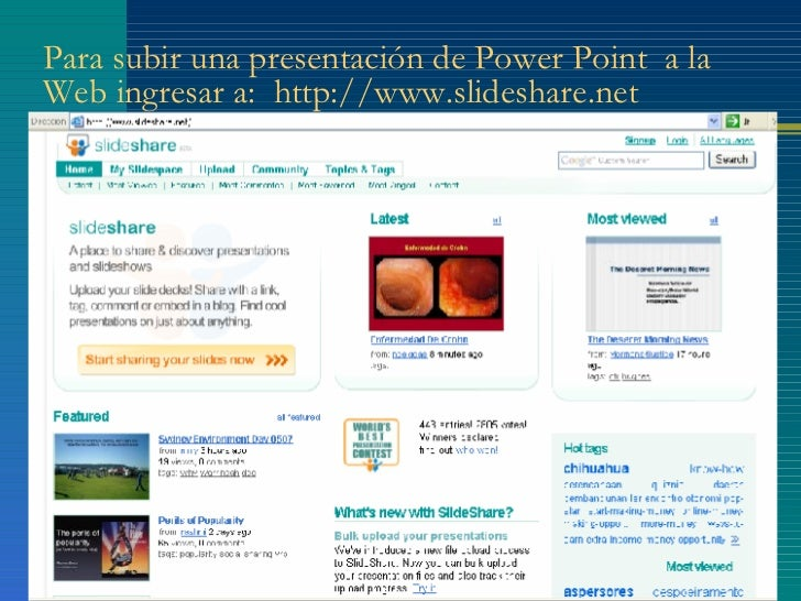 publicar una presentación de power point en slideshare