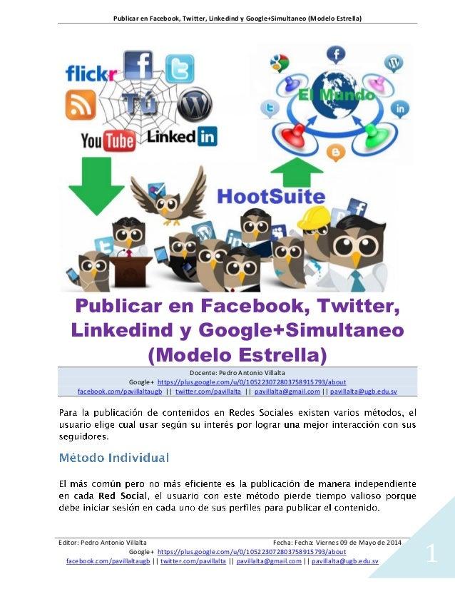 Publicar en Facebook, Twitter, Linkedind y Google+Simultaneo (Modelo Estrella) Editor: Pedro Antonio Villalta Fecha: Fecha...