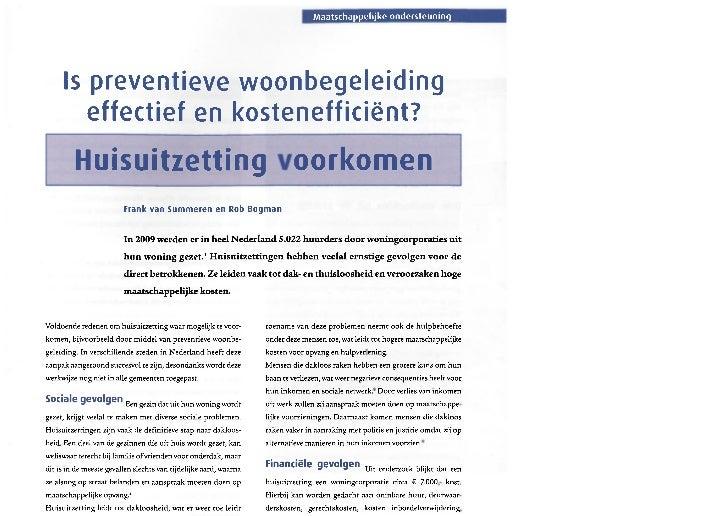 Maatschappelijke ondersteuning     Is preventieve woonbegeleiding        effectief en kostenefficiënt?         Huisuitzett...