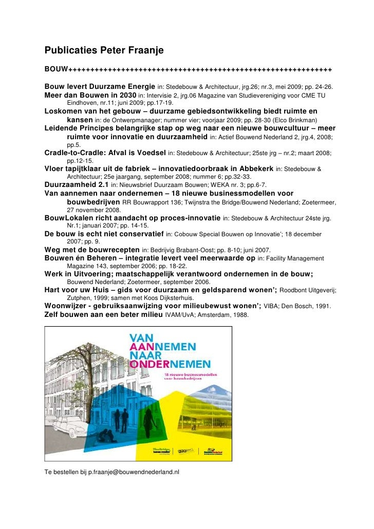 Publicaties Peter Fraanje BOUW++++++++++++++++++++++++++++++++++++++++++++++++++++++++++++  Bouw levert Duurzame Energie i...