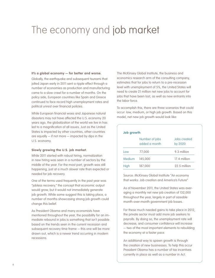 6 the economy and job market its a global - Job Market 2011 Current Future Job Market Trends