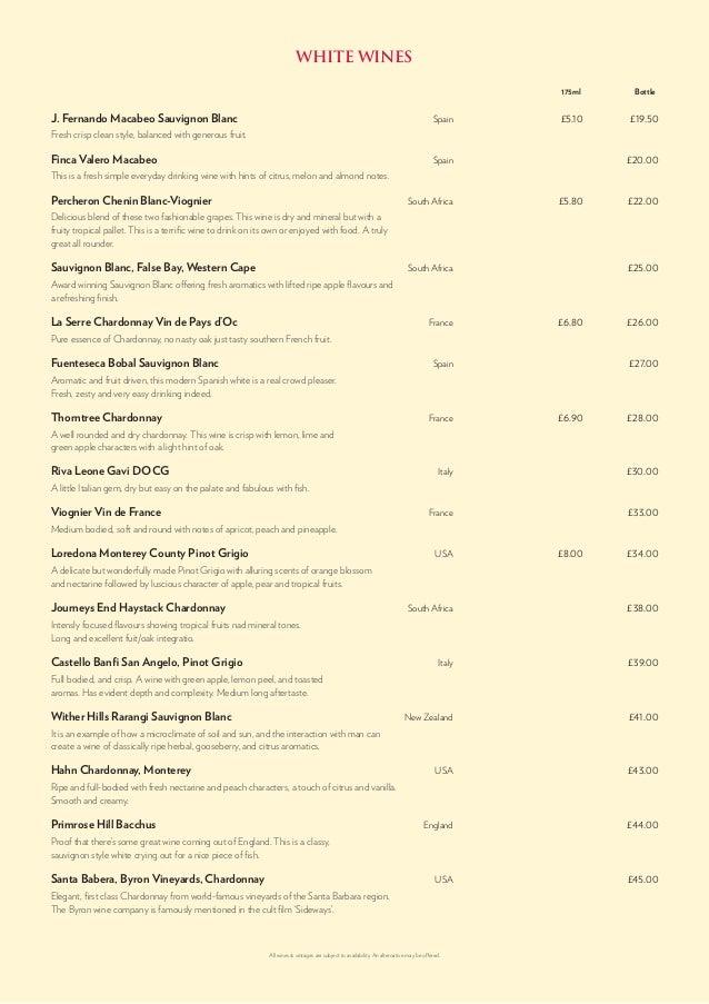 Hippodrome casino menu