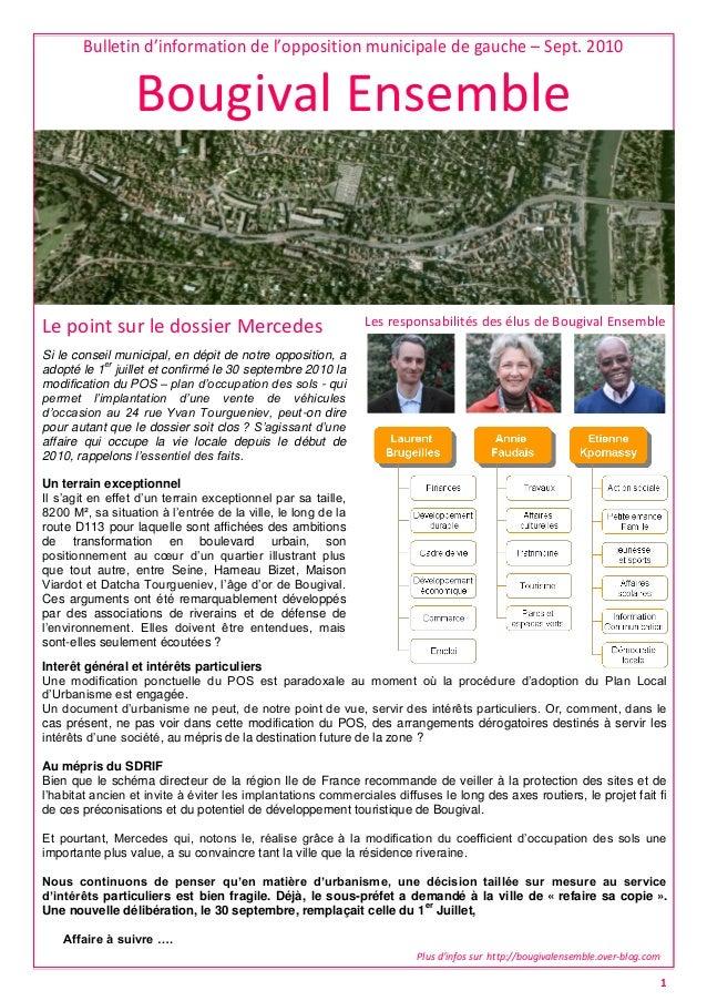 Bulletin d'information de l'opposition municipale de gauche – Sept. 2010 Bougival Ensemble Les responsabilités des élus de...