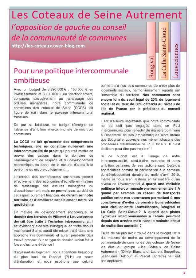 Les Coteaux de Seine Autrement l'opposition de gauche au conseil de la communauté de communes http://les-coteaux.over-blog...