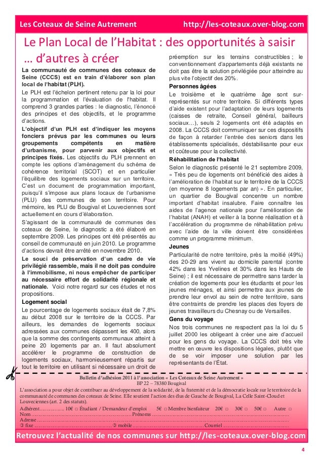 Le Plan Local de l'Habitat : des opportunités à saisir … d'autres à créer Bulletin d'adhésion 2011 à l'association « Les C...