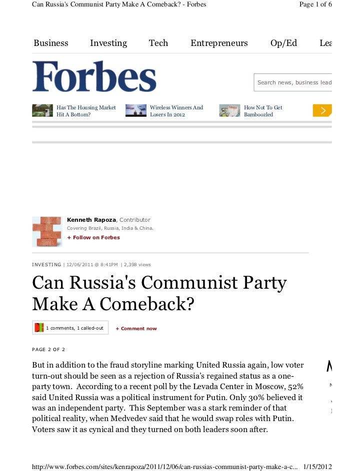 Can Russias Communist Party Make A Comeback? - Forbes                                           Page 1 of 6Business       ...