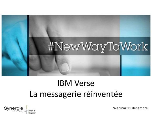 Webinar 11 décembre IBM Verse La messagerie réinventée