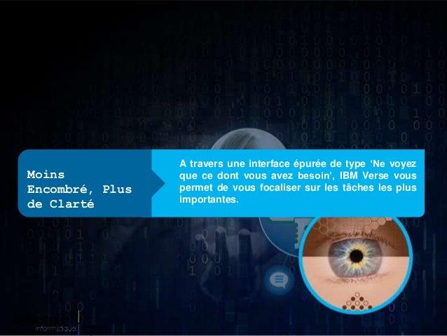 A travers une interface épurée de type 'Ne voyez que ce dont vous avez besoin', IBM Verse vous permet de vous focaliser su...