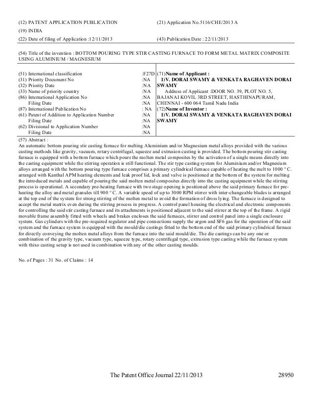 Publications Of Patent Applications By Indian Patent Office