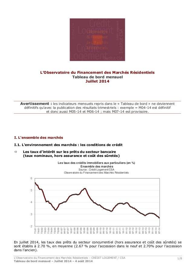 L'Observatoire du Financement des Marchés Résidentiels – CRÉDIT LOGEMENT / CSA Tableau de bord mensuel – Juillet 2014 – 4 ...