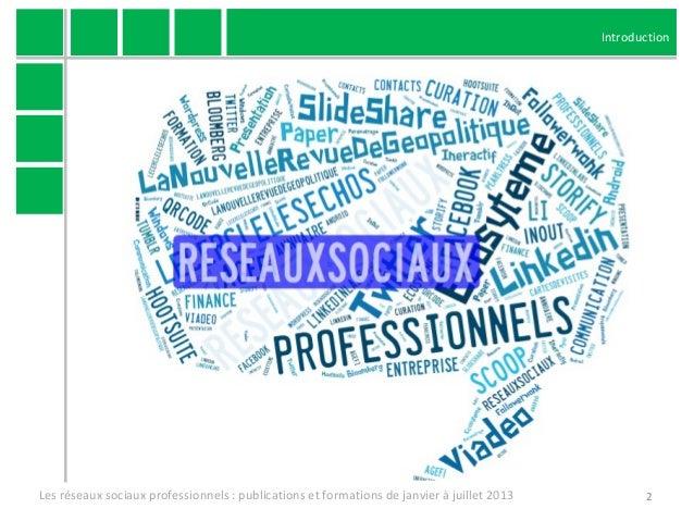 Publications et formations sur les réseaux sociaux professionnels de janvier à juillet 2013 Slide 2