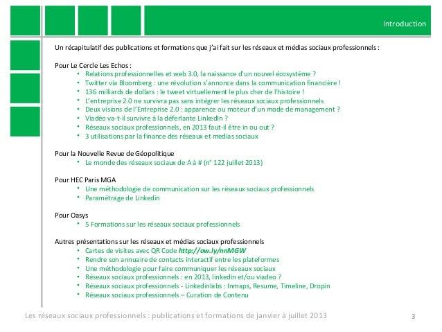 Publications et formations sur les réseaux sociaux professionnels de janvier à juillet 2013 Slide 3