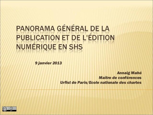 9 janvier 2013                                           Annaïg Mahé                                  Maître de conférence...