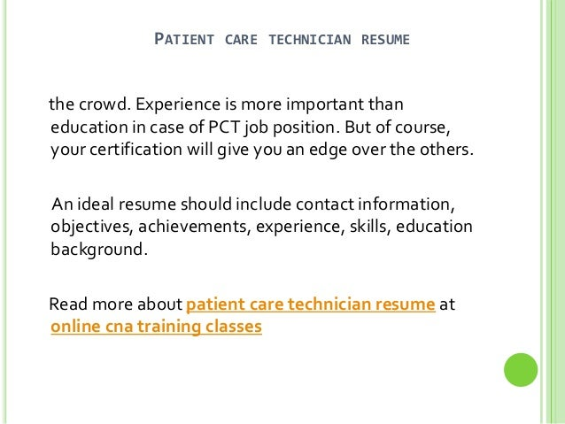 patient care technician resume sample