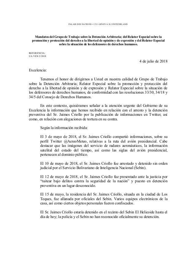 Mandatos del Grupo de Trabajo sobre la Detención Arbitraria; del Relator Especial sobre la promoción y protección del dere...