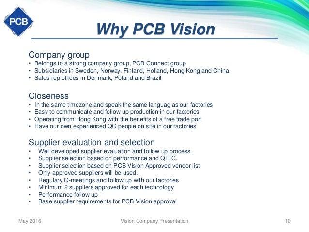 PCB Vision Company presentation May 2016