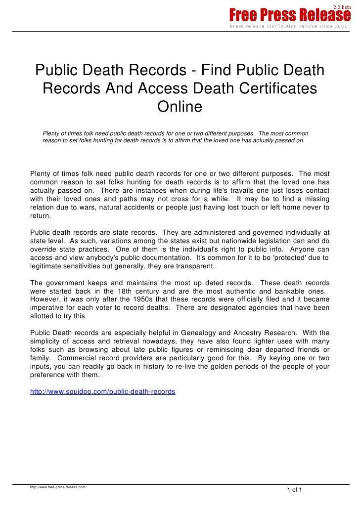 Find Public Death Records
