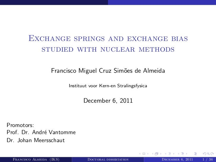 Exchange springs and exchange bias           studied with nuclear methods                    Francisco Miguel Cruz Sim˜es ...