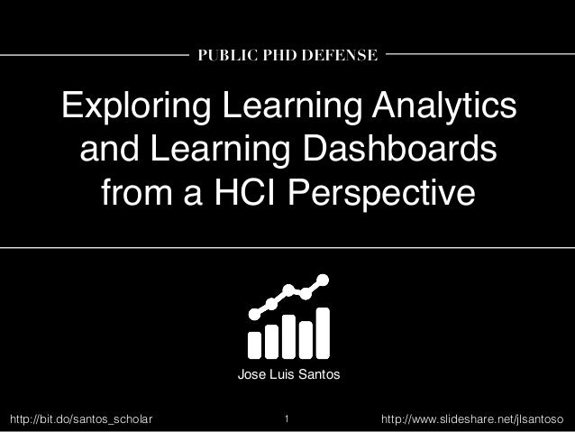 Exploring Learning Analytics and Learning Dashboards from a HCI Perspective Jose Luis Santos PUBLIC PHD DEFENSE 1http://bi...